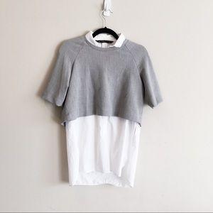 Zara • Layered Sweater-Blouse Top